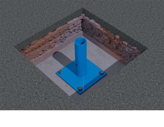 Excavate for your foundations, cast your concrete slab bases and bolt down the System 60 feet.