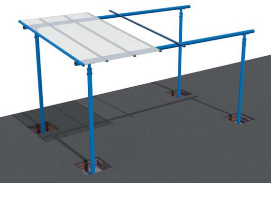 Fit down the System 60 roof spars and click in the roofing sheets.
